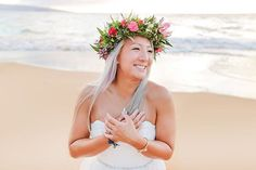 Red, pink, and green flower crown for this beaming beach bride - Florals by Petals - Love and Water Photography