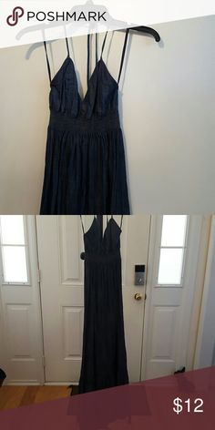 Denim like Halter Maxi Dress Dark blue denim like Halter Maxi dress New York & Company Dresses Maxi