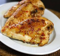 Oven grilled chicken stuffed with roasted pepper and garlic.Garlic and red bell pepper stuffed chicken breasts cooked in halogen oven.