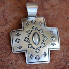 NativeIndianMade.com - Navajo Sterling Silver Cross Pendant