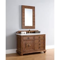 James Martin Furniture 48 Inch Single Sink Vanity with Brown Finish (4 cm Galala Beige Marble Top), Size Single Vanities