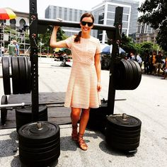 TV presenter Charlie Webster wears Bernshaw Kristin Dress - coming soon! Nude, pink, peach, sports luxe dress