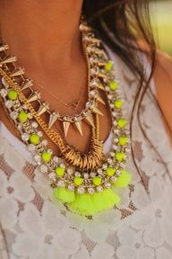 Neon yellow, gold studs & spike necklace is a perfect statement piece.