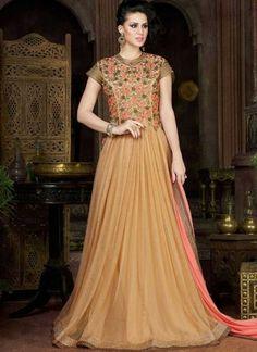 Buy Beige Embroidery Work Stone Work Long Net Party Wear Gown Online http://www.angelnx.com/Salwar-Kameez/Anarkali-Suits