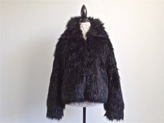 90's Glitter Faux Fur Monster Shaggy Zip Up Jacket by FeelingVagueVintage, $146.00