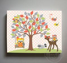 Arte de la lona bebé chica habitación decoración árbol de