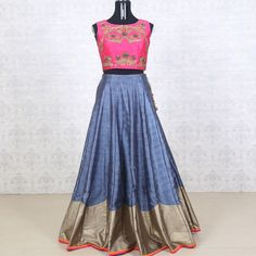 Buy this elegant Pink With Dark Gray Raw Silk Lehenga from our online collection of trendy Indian ethnic fashion wears.