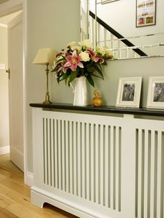Radiator covers – British and best! Made to measure in the UK to disguise ugly heaters, improve heating and give you extra shelving Modern Radiator Cover, Flur Design, Hallway Designs, Hallway Ideas, Goods Home Furnishings, Small Hallways, Design Your Kitchen, Bespoke Furniture, Hallway Decorating