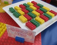 Chocolate Legos - nice idea for a Legos birthday party.