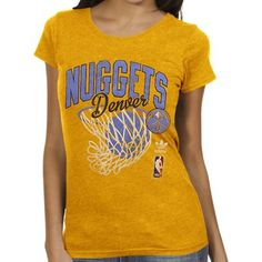 adidas Denver Nuggets Ladies Originals Nice Shot Too Cap Sleeve Fitted T-Shirt - Gold