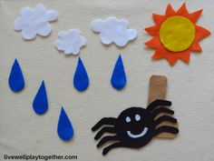 Itsy Bitsy Spider Felt Board DIY+ Free Printable Stencils - Live Well Play Together Flannel Board Stories, Felt Board Stories, Felt Stories, Flannel Boards, Felt Board Templates, Felt Board Patterns, Applique Templates, Applique Patterns, Card Templates
