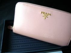 Prada Saffiano Leather Zip Around Portafoglio Long Wallet in Soft Pink Orchidea   eBay #prada #springpink #orchid #luxury
