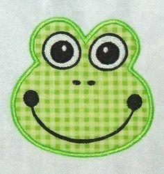 Frog Face Applique Machine Embriodery Design by FiveStarFonts, $4.99