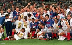 World Cup Final, St, Denis, France, 12th July, 1998, France 3 v Brazil 0, The French squad celebrate with the World Cup trophy after winning the competiton for the first time in their history