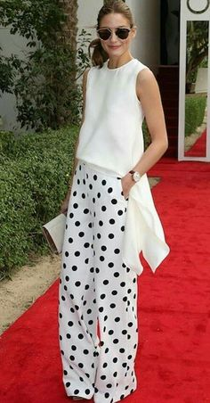 White Fashion, Look Fashion, Womens Fashion, Classy Outfits, Casual Outfits, Polka Dot Pants, Polka Dots, Olivia Palermo Style, Outfit Trends