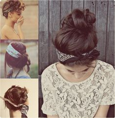 easy head tie hairstyle with straight brown hair extensions clip in