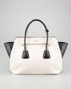 Prada - Bicolor Soft Calfskin Tote Bag #15things #fashion #style #trend #oppositesattract #prada
