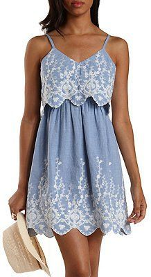 Pin for Later: 100 Sundresses Under $100: Ready, Set, Shop! Charlotte Russe Embroidered Chambray Flounce Dress Charlotte Russe Embroidered Chambray Flounce Dress ($35)