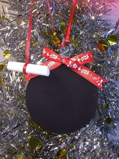 Chalkboard Double Sided Red Bow Christmas Ornament New Gift  | eBay