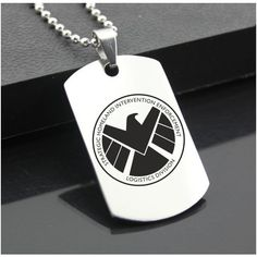 SHIELD S.H.I.E.L.D. Stainless Steel Dog Tag Military Pendant Captain... (38 SAR) ❤ liked on Polyvore featuring jewelry, pendants, dog tag pendant, handcrafted jewelry, military jewelry, stainless steel jewellery and military pendants