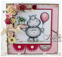 Birthday Hippo [C1073] - $8.50 : Whimsy Stamps