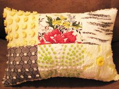 Summer Chic Yellow and Black Vintage Chenille and Bark Cloth Pillow. $20.00, via Etsy.