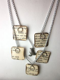 Book page necklace literary necklace Book jewelry by ESPARTOstudio