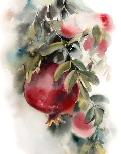 Pomegranates Print, Watercolor Painting Art Print, Pomegranate Painting, Wall Art Home Decor by CanotStopPrints on Etsy Watercolor Fruit, Fruit Painting, Watercolour Painting, Painting Art, Painting Prints, L'art Du Fruit, Fruit Art, Fruit Trees, Papier Paint