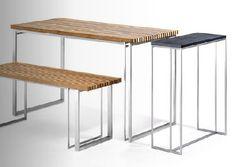 Table mange-debout / contemporaine / de jardin / plateau en teck SML KENKOON