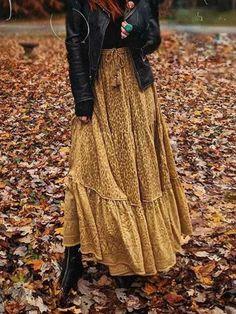 Autumn Wild Maxi Skirt Sweet Boho Maxi Skirts from Spool 72 Maxi Skirt Outfits, Maxi Skirt Boho, Bohemian Skirt, Boho Skirts, Modest Outfits, Boho Outfits, Modest Fashion, Boho Fashion, Fashion Outfits