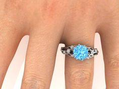 Wedding and Engagement Rings, Bridal Ring, UNIQUE Ring, Natural Sky Blue Topaz and White Diamonds, I've got you under my skin, Perfect ring by BridalRings on Etsy https://www.etsy.com/listing/249514900/wedding-and-engagement-rings-bridal-ring