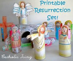 Teach kids the Easter story using a Printable Resurrection Set! **My idea...use the block play people and tape the figures to them!