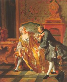 The Garter (1724-1725). Jean François de Troy (French, 1679-1752).Wrightsman Collection, New York. Woman wears her robe volante as a provocatively loose dressing gown and, after putting down her book, entices her lover by adjusting her stocking on a bared calf, and uses her outstretched forearm to frustrate his attempt to participate in this task.