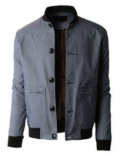 LE3NO Mens Lightweight Slim Fit Windbreaker Bomber Jacket