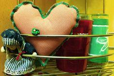 dark pink stripped textile heart