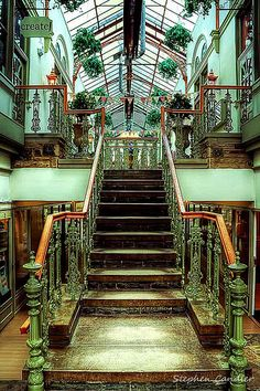 Ilkley Arcade by Light+Shade. Burley In Wharfedale, Wonderful Places, Beautiful Places, Beautiful Architecture, Green Architecture, Front Entrances, West Yorkshire, Light Shades, Stairways