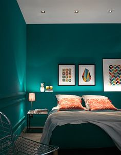 Frames for dressing the headboard - Trendy Home Decorations Bedroom Wall Colors, Bedroom Green, Home Decor Bedroom, Turquoise Room, Decorate Your Room, Trendy Home, New Room, Indirect Lighting, Bedroom Lighting