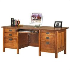 Craftsman style desk. | Woodworking | Pinterest | Craftsman style ...