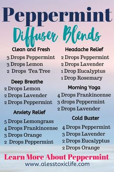 Essential Oil Diffuser Blends Try some of these great smelling diffuser blends with peppermint essen Essential Oils For Headaches, Essential Oil Diffuser Blends, Best Essential Oils, Migraine Essential Oil Blend, Peppermint Essential Oil Uses, Peppermint Oil Benefits, Uses For Peppermint Oil, Peppermint Oil Doterra, Peppermint Oil For Headaches