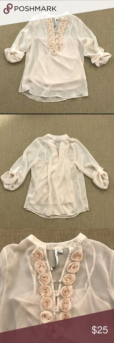 """Lauren Conrad Blush Sheer Blouse Roses Size S NEW Brand new beautiful, romantic Lauren Conrad Blush Sheer Blouse with attached camisole and fabric Roses Size L. 19.5"""" armpit to armpit, length shoulder to hem 24"""".   A91 LC Lauren Conrad Tops Blouses"""