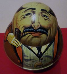 "Chein Roly Poly BUSINESSMAN Bristol Ware ""Brownie"" Tobacco Tin Circa 1979"