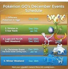 Pokemon Go Chart, Go Game, December