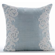Luxury Light Blue Throw Pillows Cover, Silk Pillowcase, Square Beaded Boroque French Theme Pillows Cover - White Waters : Decorative Throw Pillow Covers Accent Pillow by TheHomeCentric Diy Pillows, Toss Pillows, Decorative Throw Pillows, Throw Cushions, Light Blue Throw Pillows, Blue Throws, Cushion Covers, Pillow Covers, Diy Vintage