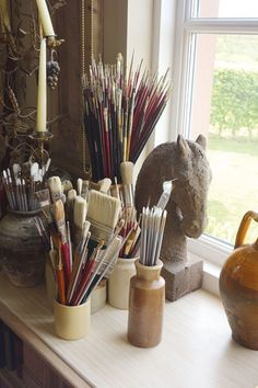 art studio Sculpture and Art Supplies - A new build belonging to artist Sue Phipps in the Scottish Borders filled with artwork and curiosities - real home on HOUSE by House amp; Home Art Studios, Art Studio At Home, Artist Studios, Cool Office Space, Art Studio Organization, Tool Organization, Art Studio Design, Artist Aesthetic, Painting Studio