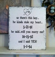 SAVE the DATE Sign / So there's this boy....he stole my heart / Engagement Photo Prop / Wedding Signs 14 x 16. $54.95, via Etsy.....Love this idea!