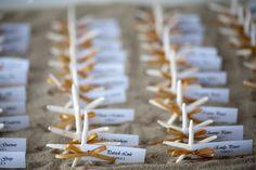 cape cod wedding seashell escort cards