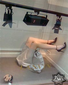 window display with mannequin parts
