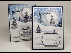 Karten und Boxen 12 cards until Christmas 2017 Stampin Up Christmas, Christmas 2017, Handmade Christmas, Christmas Crafts, Stampin Up Weihnachten, Diy And Crafts, Paper Crafts, Peek A Boo, Winter Cards