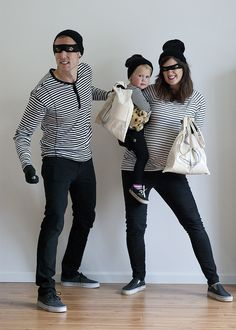 Bank robber family Halloween costume!  I might do cops and robbers for my bigger family!