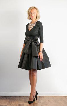 Bow Belted Full Black Taffeta Skirt. $130.00, via Etsy.